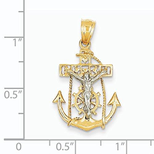 14 carats-Bicolore-les marins Pendentif croix-Dimensions :  19 x 17 mm-JewelryWeb
