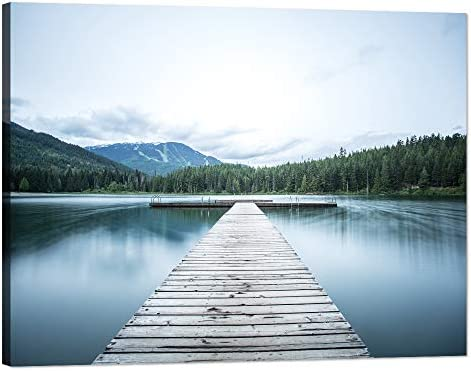 Yatsen Bridge Large Summer Painting on Canvas Wall Art Forest Lake Dock Mountains Landscape Picture