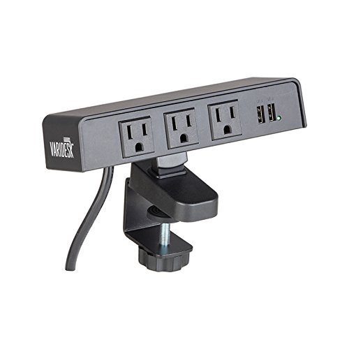 VARIDESK PowerHub Surge Protector With 3 AC Outlets And 2 USB Ports - 12' Cord
