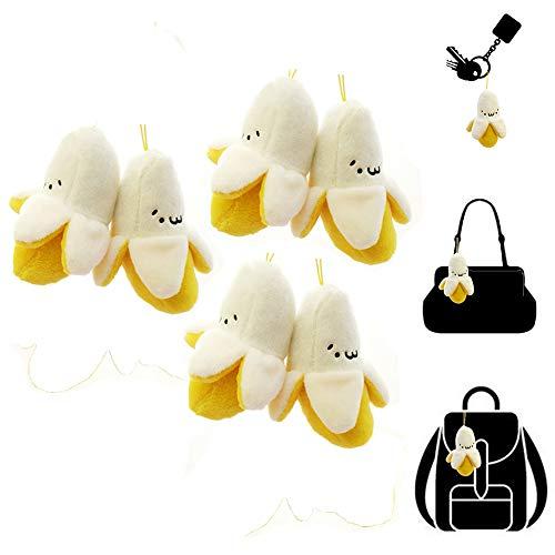 - 6 Piece Stuffed Banana Keychain Plush Toy, Cute Fruits Mini Banana Peel Phone Bag Keychain Pendant Decoration, Christmas Gift Birthday Gift for Baby Kids Children