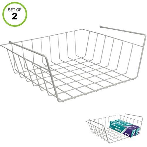 Evelots Slide Under Shelf Sturdy Wire Baskets w/Back Space Saver Organizer
