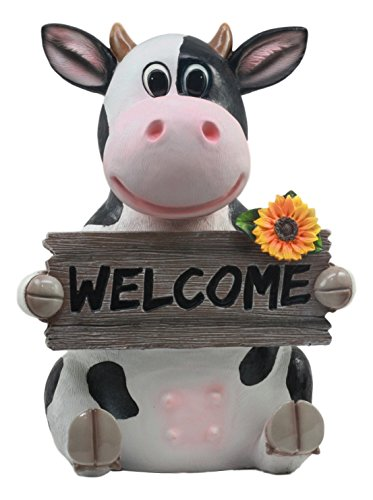 Ebros Animal Farm Whimsical Holstein Cow with Welcome Sign Statue 13'' Tall Sunflower Cow Garden Greeter Figurine by Ebros Gift