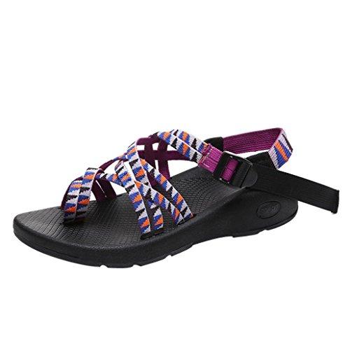 Compensées A Flops Été Décorées violet Femme Floral Plates Sandales Chaussure Vacances Plage electri Été bohème Talon Flip Mode Dentelle Tongs Fvf1xqOUxw