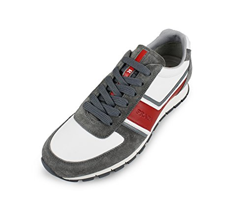 Prada Mens Plume Calf Leather With Suede Trainer Sneaker, Grey/White/Red 4E2943