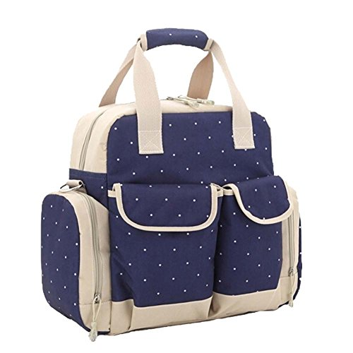 Multifunción bolsas de lunares bolso para pañales cambiador de bebé bolsa de transporte de sets Gran Capacidad Mummy Bolso de mano Mochila 3maneras azul oscuro azul oscuro