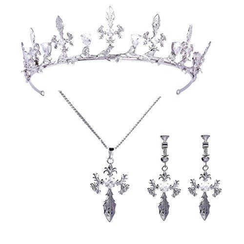FUMUD Sparkly Bride Full Zircon Crown Necklace Earring Plating Platinum Bridal Jewelry Set (1#) (Earrings Platinum Zircon)