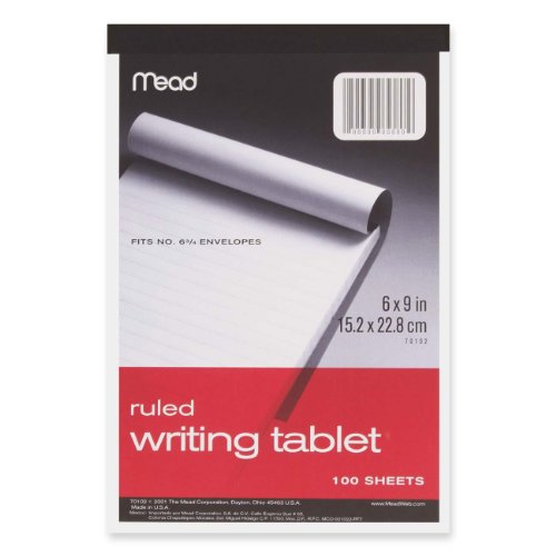 Mead : Writing Tablet,Top-bound,Ruled,20 lb.,6