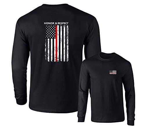 Honor Respect U.S. Flag Red Line Firefighter Long Sleeve T-Shirt, Black, L - Mens Firefighter L/s Shirt