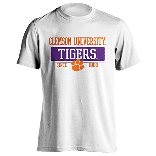 Southland Graphics Apparel Clemson University Tigers White Since 1889 Logo Short Sleeve T-Shirt (White, S)