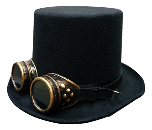 Nicky Bigs Novelties Steampunk Black Deluxe Felt Bell Topper Top Hat Gold Goggles Costume - Top Goggles