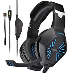 Gaming Headset PS4, INSMART New Xbox One Headset Over-Ear Gaming Headphones with Mic Noise Cancelling & Volume Control…