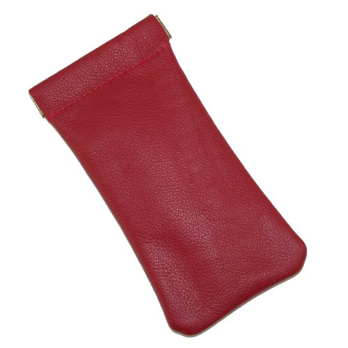 CTM Leather Eyeglass Holder and Case, Red