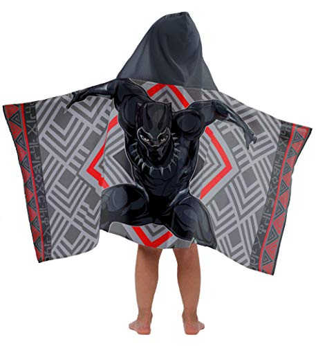 Jay Franco Marvel Black Panther Kids Bath/Pool/Beach Hooded Towel - Super Soft & Absorbent Fade Resistant Cotton Towel, Measuring 22 inch x 51 inch (Official Marvel Product)