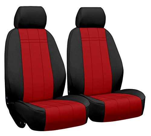 Front Seats: ShearComfort Custom Neoprene-Style Seat Covers for Chrysler PT Cruiser Convertible (2005-2005) in Black w/Red for Buckets w/Inner Arms and Adjustable Headrests