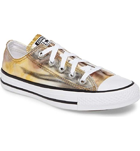 [CONVERSE ALL STAR LO TOP WASHED METALLIC SILVER GOLD SIZE 6.5] (Converse All Stars Zappos)