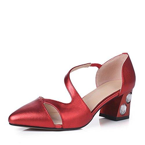 Nine Seven Cuero Moda Puntiagudos Zapatos de Tacón Grueso de Vestir para Mujer Rojo