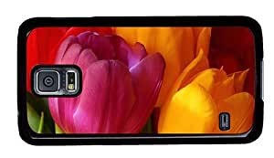 Hipster Samsung Galaxy S5 Case personalized Yellow Pink Red Tulips PC Black for Samsung S5