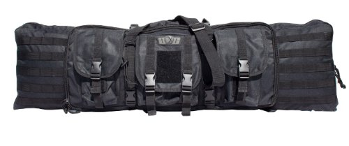 Gen-X Double Tactical Rifle Case w/Pack Straps and 3 outside Pouches, Black (Pack Soft Case)