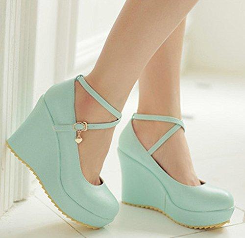 Idifu Mujeres Sexy Cross Strap Buckle Plataforma Cuña Zapatos De Tacón Alto Zapatos Azul