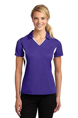 Sport-Tek Women's Side Blocked Micropique Sport Wick Polo, Purple/White, XX-Large -