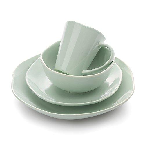 (LE TAUCI 4 Piece Glaze Dish Dinnerware Set Place Setting Service One Person,Smoke Blue)