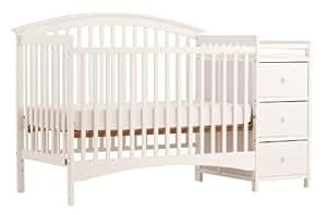 Stork Craft Bradford 4 in 1 Fixed Side Convertible Crib Changer, White