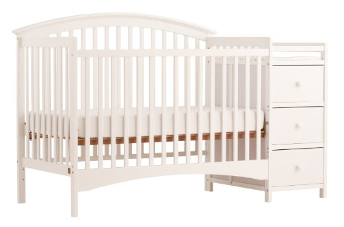 Storkcraft Bradford 4 in 1 Fixed Side Convertible Crib Changer, White