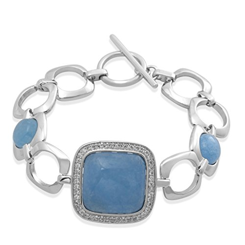 7.25' Link (Jewelili Sterling Silver 20mm Cushion shape and 10mm Round Blue Quartz with Round White Cubic Zirconia Fashion Link Bracelet, 7.25'')