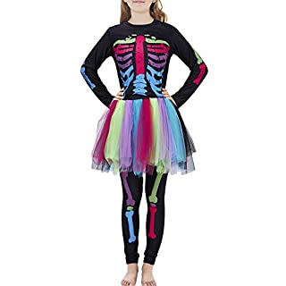 Little Girls Halloween Costume Size 9-10 Scary Skeleton Cosplay Bodysuit 3D Pink Dress Jumpsuit Outfit One-Piece