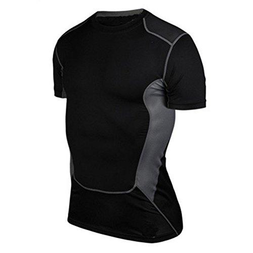 Generic New Mens Compression Sweat-absorbent Sport Gear Crewneck Athletic Shirt - Gear Neck