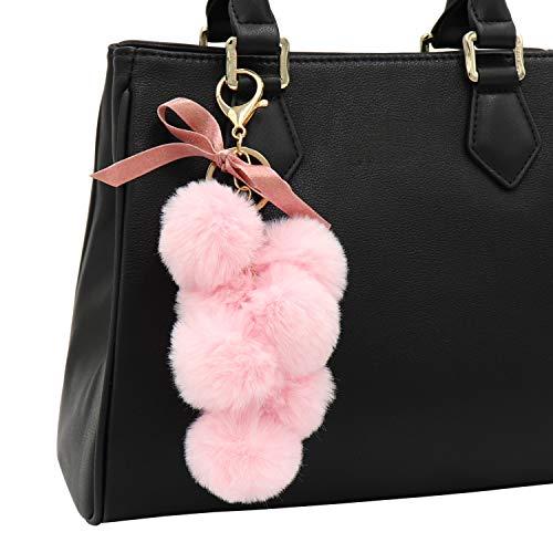 Pom Real Pom Fur (Cute Faux Fur Pom Pom Keychain Key Chain Bag Charm for Women (B - Pink))