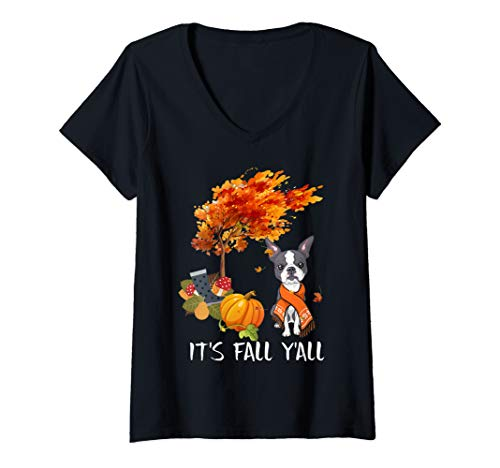 Womens It's Fall Y'All Tee Boston Terrier Autumn Halloween Lover V-Neck T-Shirt