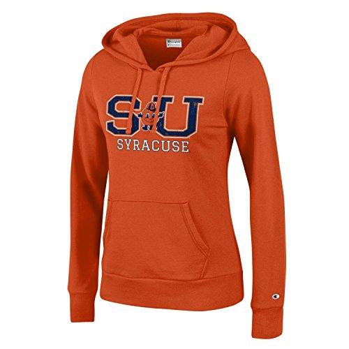 (Champion NCAA Women's Comfy Fitted Sweatshirt University Fleece Hoodie Syracuse Orange Large)