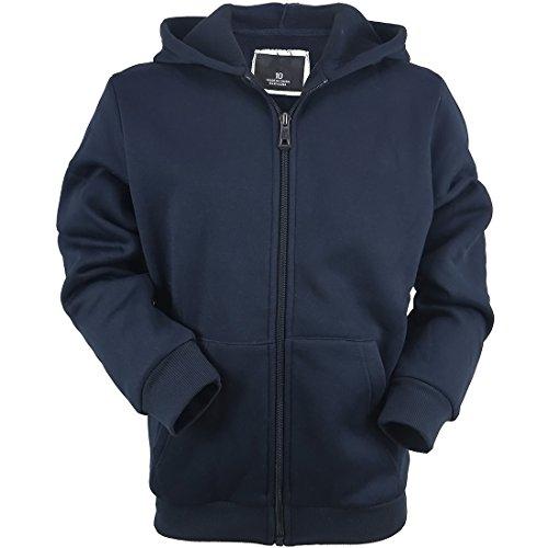 Gary Com Lightweight Fleece Boys Hoodie Full Zip Youth Big Child Kids Thin Sweatshirt Long Sleeve School Uniforms Navy