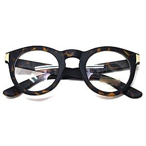 Classic Round Horn Rimmed Eye Glasses Clear Lens Oval Non Prescription Frame (Matt Leopard 8071, Clear)