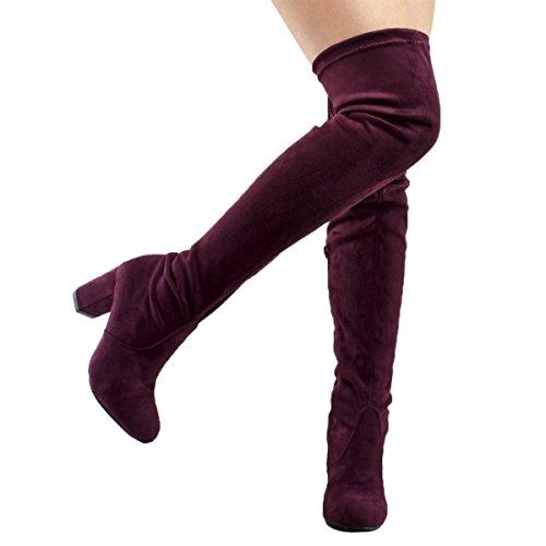 Premier Standard Damenmode Bequeme Vegane Wildleder Block Heel Slip On Oberschenkel Hohe Overknee Stiefel Premium Burgund Su