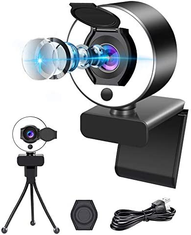 Webcam with Ring Light, Computer Camera with Microphone, Camera for Computer ProaStar, Plug and Play, Advanced autofocus Adjustable Brightness Privacy Protection for PC Desktop Laptop