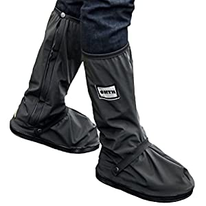 USHTH Black Waterproof Rain Boot Shoe Cover with reflector (1 Pair) (Black-M(11.2inch))