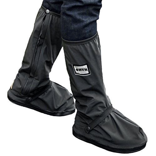 USHTH Black Waterproof Rain Boot Shoe Cover with reflector (1 Pair) (Black-XL(12.6inch)) ()