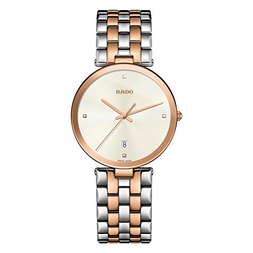 Rado Women's Florence 38mm Two Tone Steel Bracelet Rose Gold Plated Case Quartz White Dial Watch R48869733