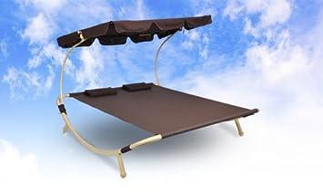 Sonnenliege Doppelliege Gartenliege Liege Relaxliege Dach Sonnendach Braun  NEU