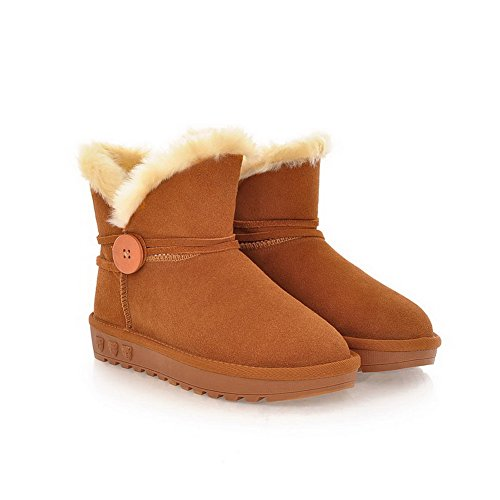 Round US Solid AmoonyFashion Boots B Closed Buckle Frosted Leather Womens 5 Cow Low with Camel Plush Heels Toe Short M Hq1BExqSw