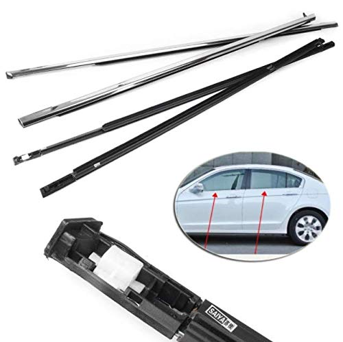 Hotwin 4x Chrome Outside Window Moulding Weatherstrip Trim Seal Belt For Accord 2003-2007