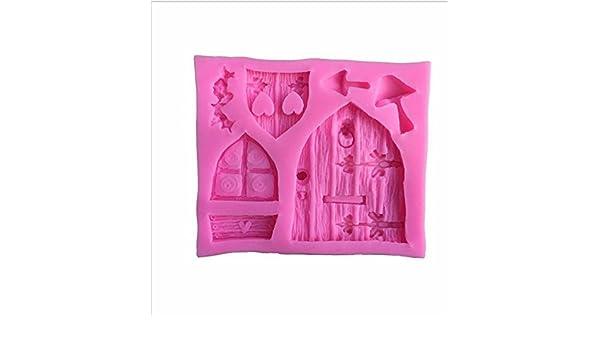 CAOLATOR.Molde de Silicona para Jabón Hecho a Mano Forma de Puerta de Madera Ventana Diseño de Color Rosa para DIY Herramienta para Tarta Pastel y Postre: Amazon.es: Hogar