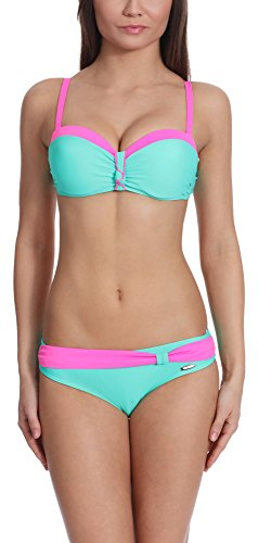 Verano Damen Bikini Set Push Up Juanita (Hellminze/Rosa, 42)