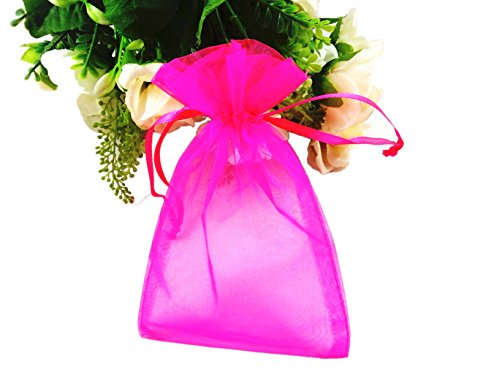 SumDirect 100Pcs 4x6 Inches Sheer Drawstring Organza Jewelry Pouches Wedding Party Christmas Favor Gift Bags (Hot (Hot Pink Wedding)
