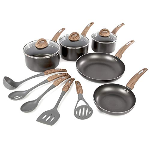 Tower Non-Stick Pan Set with 5 Piece Nylon Tools, Graphite/Brown and Wood Effect Handles (Pot And Pan Tower)