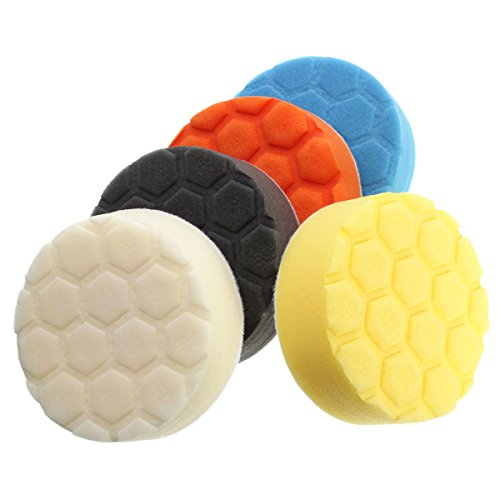 KINGSO Assorted Color Foam Buffing Polishing Pads Kit Set for Car Sanding Polishing Buffing 5pcs Set 4 Inch