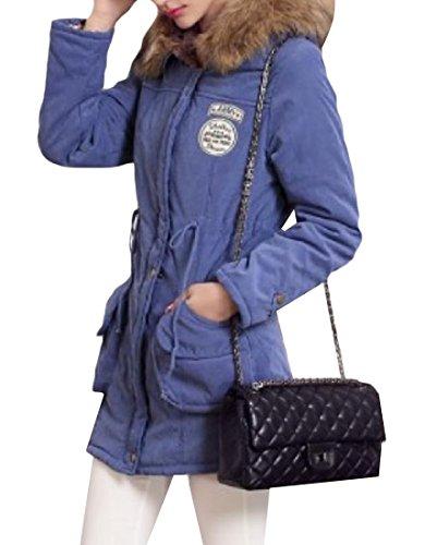 Cappuccio Donne Pelliccia Di Pisello Mogogo Blu Giacca Cappotto Del Colore Zaffiro Tunica Collo Delle Del Di Spessa FwFWPqvZE