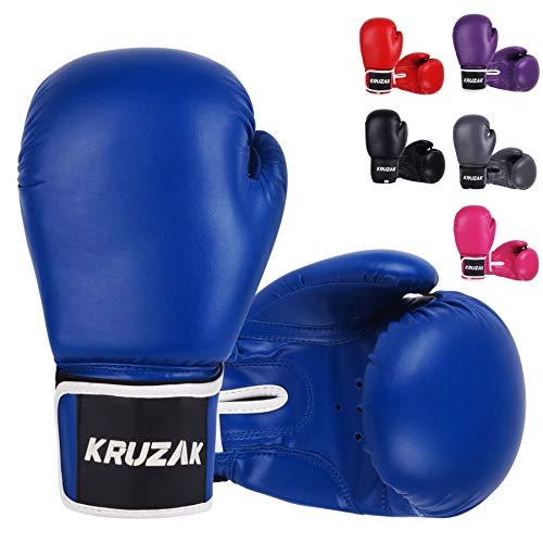 Kruzak Plain Boxing Gloves for Sparring, Kickboxing, Muay Thai, Martial Arts & MMA Fighting – Men & Women Punch Bag…